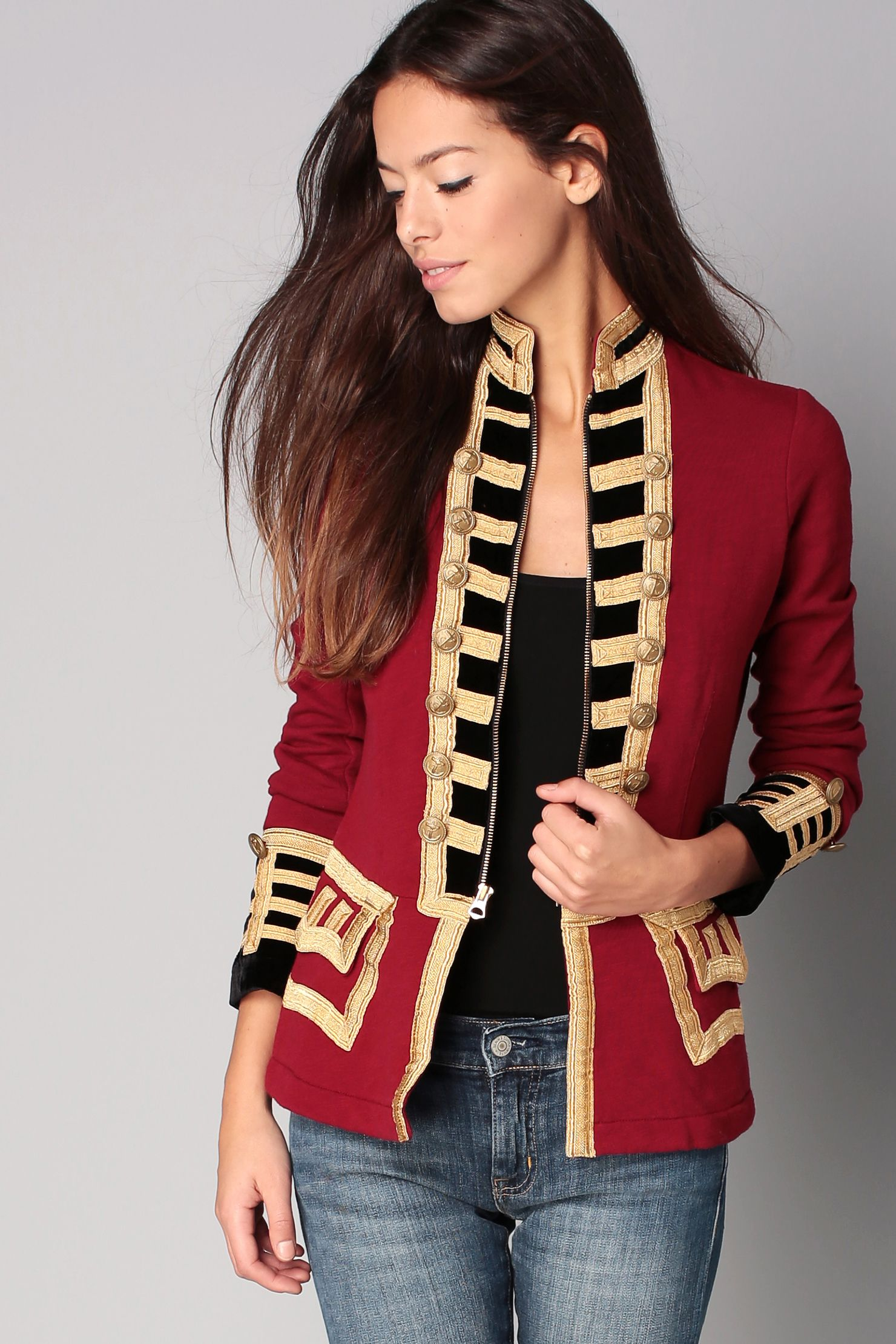 Veste rouge et dorée Officier Denim and Supply by Ralph Lauren sur  MonShowroom.com 06fdf46b031f