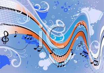 Royalty Free Clipart Image Of A Music Background Muzikiniai Raktai