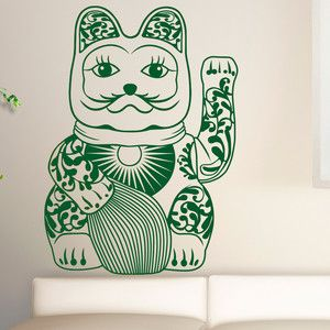Lucky Cat Wall Decal Green, 68€, now featured on Fab.
