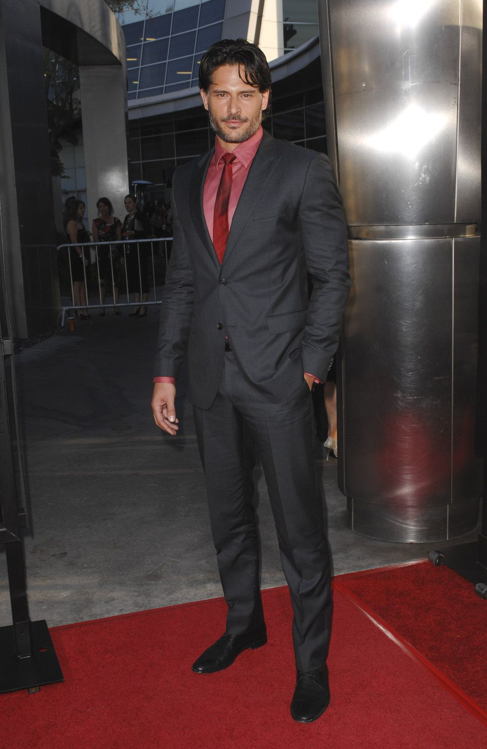 Joe Manganiello Pink Shirt Black Suit Red Tie With Images