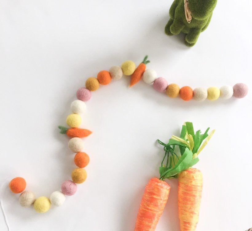 Neutral Carrot Spring Easter Felt Pom Pom Garland Carrot Easter DecorCarrot Pompom garlandSpring Felt balls Easter Party Decor