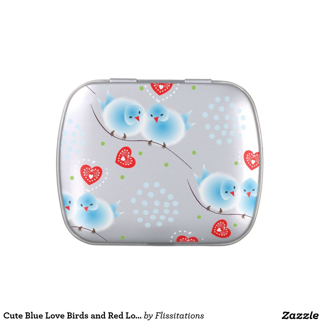 Cute Blue Love Birds And Red Love Hearts Pattern Candy Tin