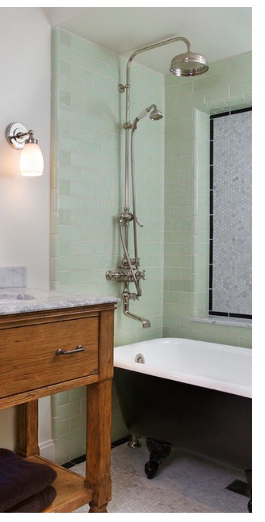 clawfoot tub idea floor drain under tub means no back shower curtain is necessary