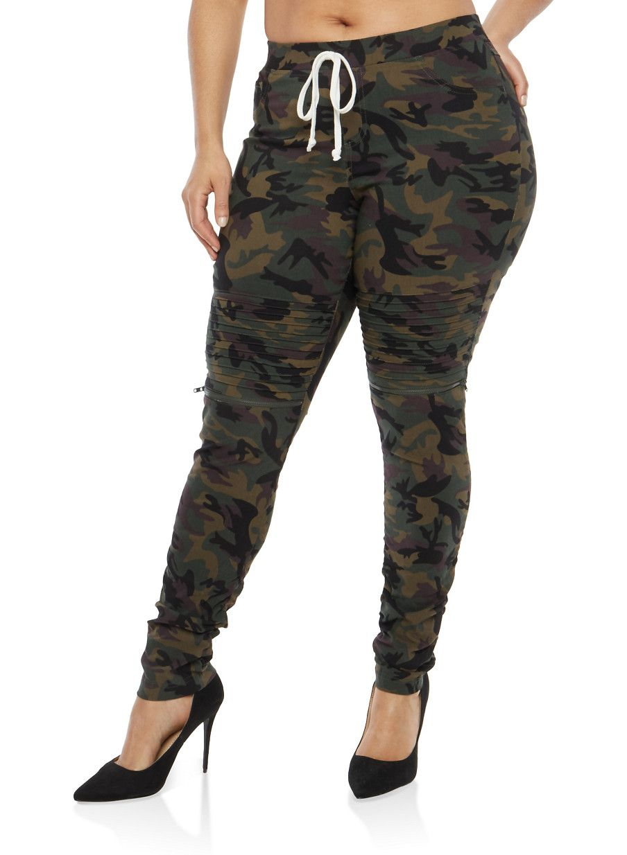 fcd8ca1487c Plus Size Ruched Camo Moto Joggers - Green - Size 3X