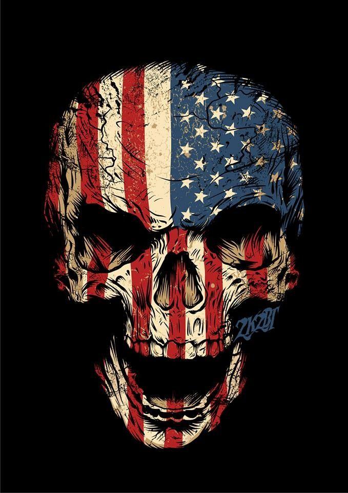 American Flag Skull Wallpaper : american, skull, wallpaper, American, Skull, Wallpaper,, Drawing,, Artwork