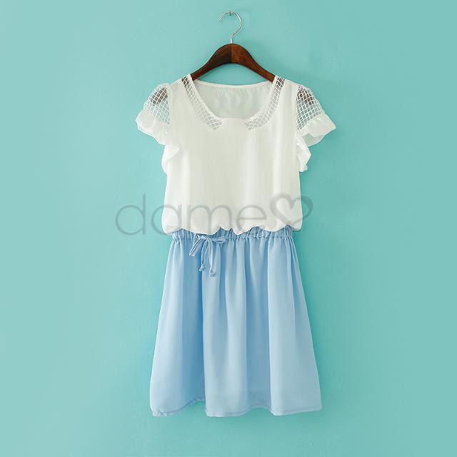 Kurzer Ärmel H-Linie Zusammenfügend U-Halsausschnitt Kleid
