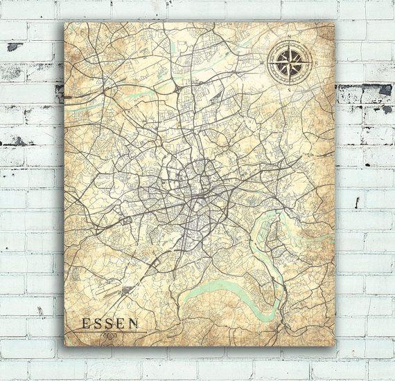 ESSEN Canvas Print Germany Vintage map City Vintage map Wall Art