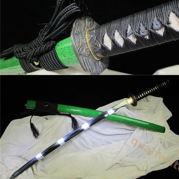 41 1095 Carbon Steel Clay Tempered Blade Green Janpane Sesamurai Sword Katana Carbon Steel Cool Things To Buy Katana
