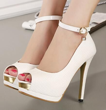 Elegant Ankle Strap White Heels Bridal Pumps Shoes Women High Heels Peep  Toe Party Shoes Office Lady Shoes 12cm Size 34 To 39 Wx Dyeable Bridal  Shoes ...
