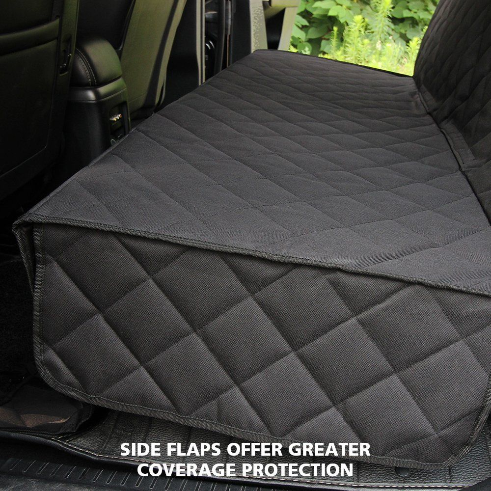 Honest luxury quilted dog car seat cover with side flap
