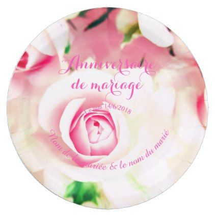 Wedding Anniversary Francais Customized Paper Plate Decor Diy