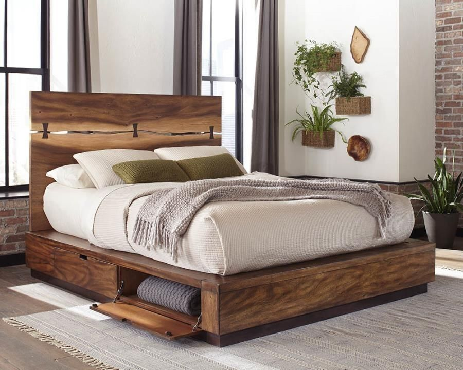 Crafted From Mahogany Wood Veneer Trembesi Veneer And Walnut Veneer Smoky Walnut And Coffee Bean In 2020 Contemporary Bedroom Decor Walnut Bed Platform Bedroom Sets