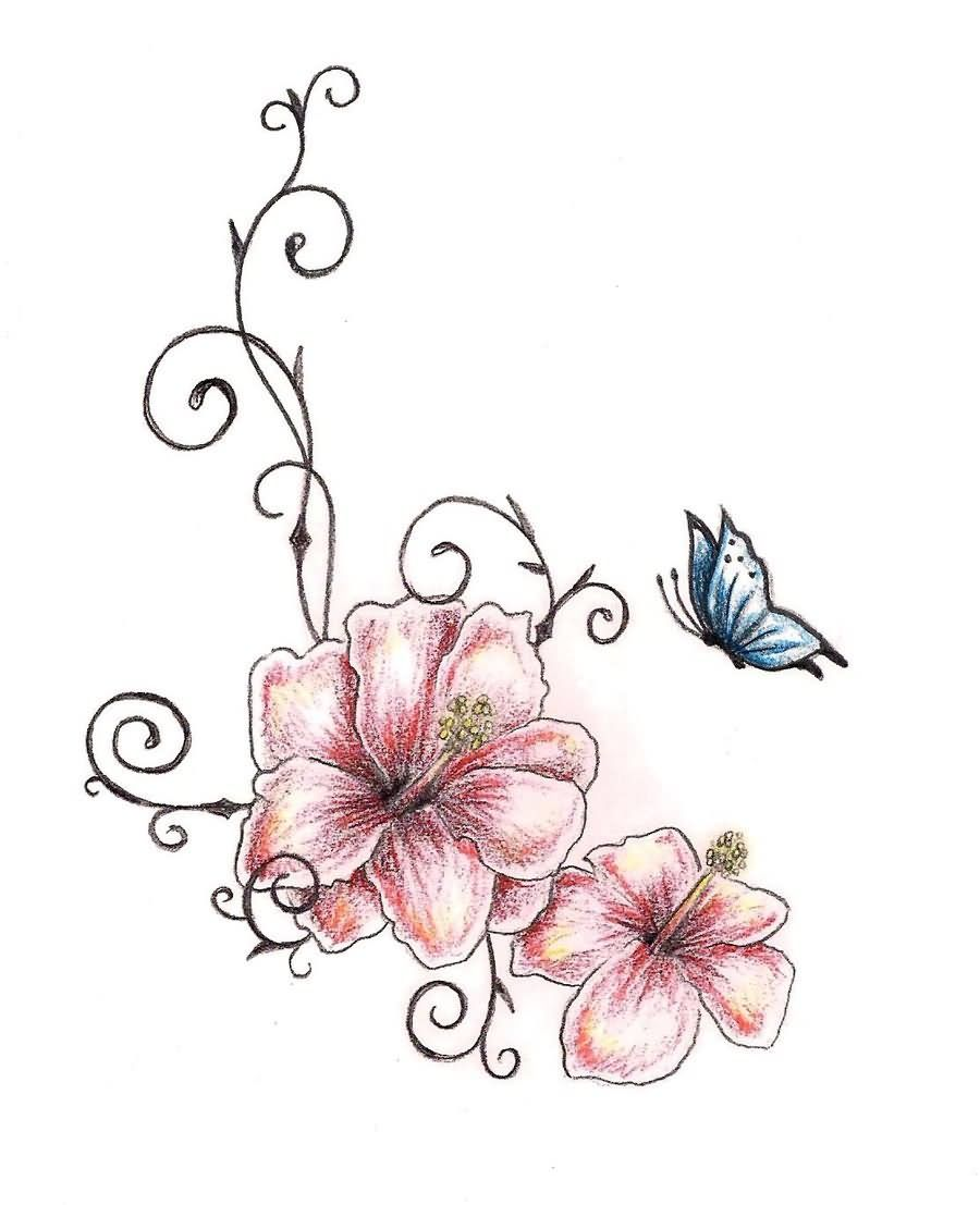 37f93967c Amazing Two Hibiscus Flower With Butterfly Tattoo Design By TashiTam ...
