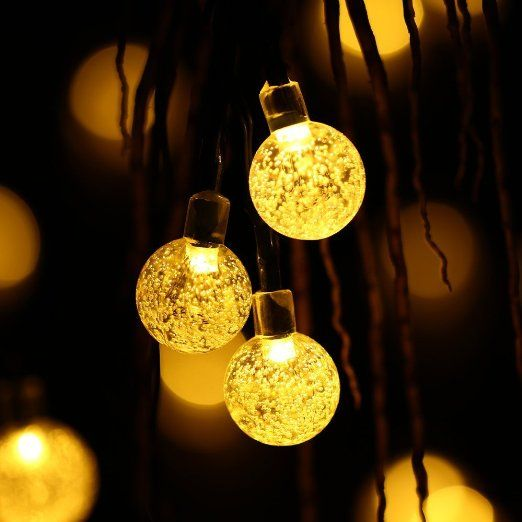 Decorative Ball Lights Luckled Globe Outdoor Solar String Lights 20Ft 30Led Fairy Bubble