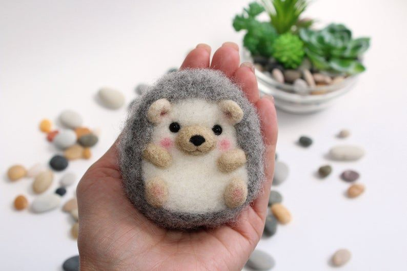 Felt cute hedgehog art doll and needle felted animal toy