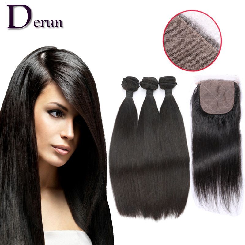 Silky Straight 1 Piece Middle Part Lace Top Closure With 3pcs Hair