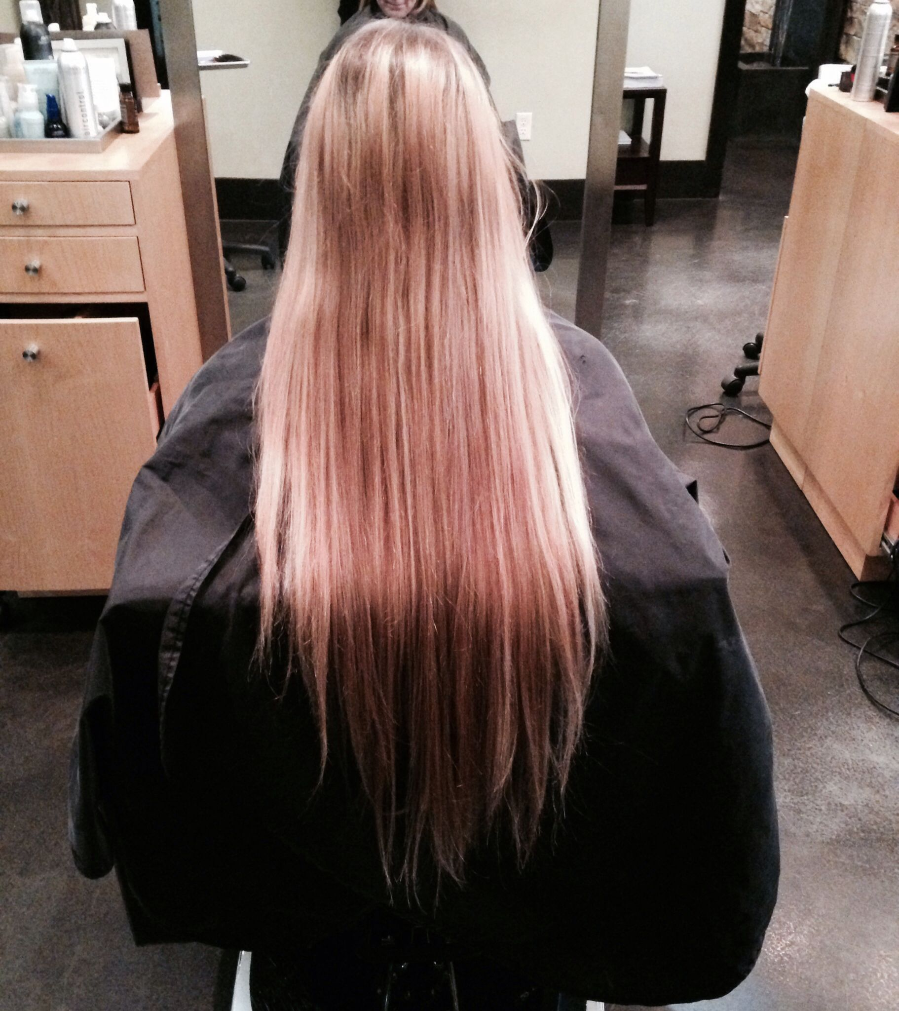 Long hairombredirty blond hairstraight hairhair salons makeup