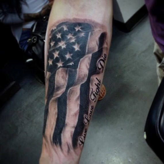 Forearm Tattoos American Flag For Men