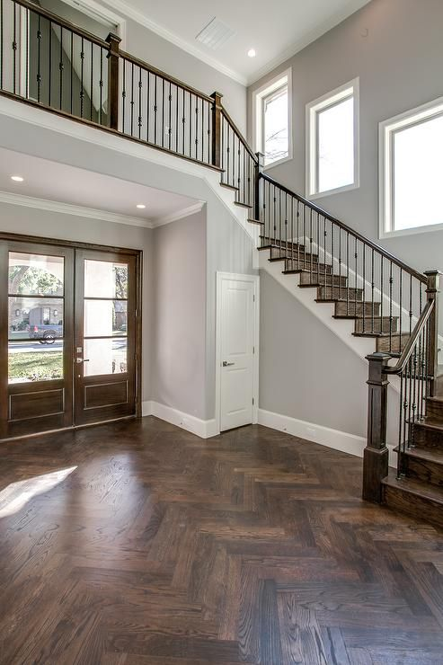 Doors Medium And Ideas: Stunning Foyer Features Glass-front Doors Alongside Wood