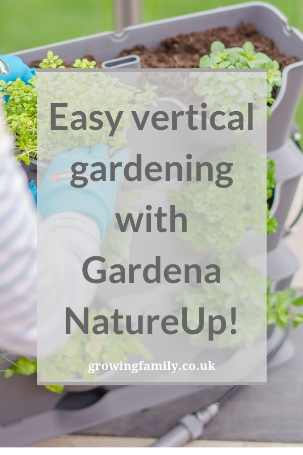 Creating a vertical herb garden using the Gardena NatureUp! vertical gardening system, which is ideal for small outdoor spaces and container gardening. #gardening #gardeningtips #containergardening #herbgarden
