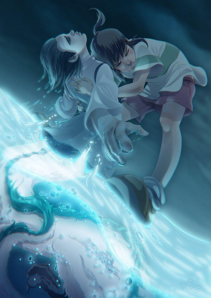 """Haku and Chihiro by Tako-DNA.deviantart.com on @deviantART - From Miyazaki's """"Spirited Away"""":"""