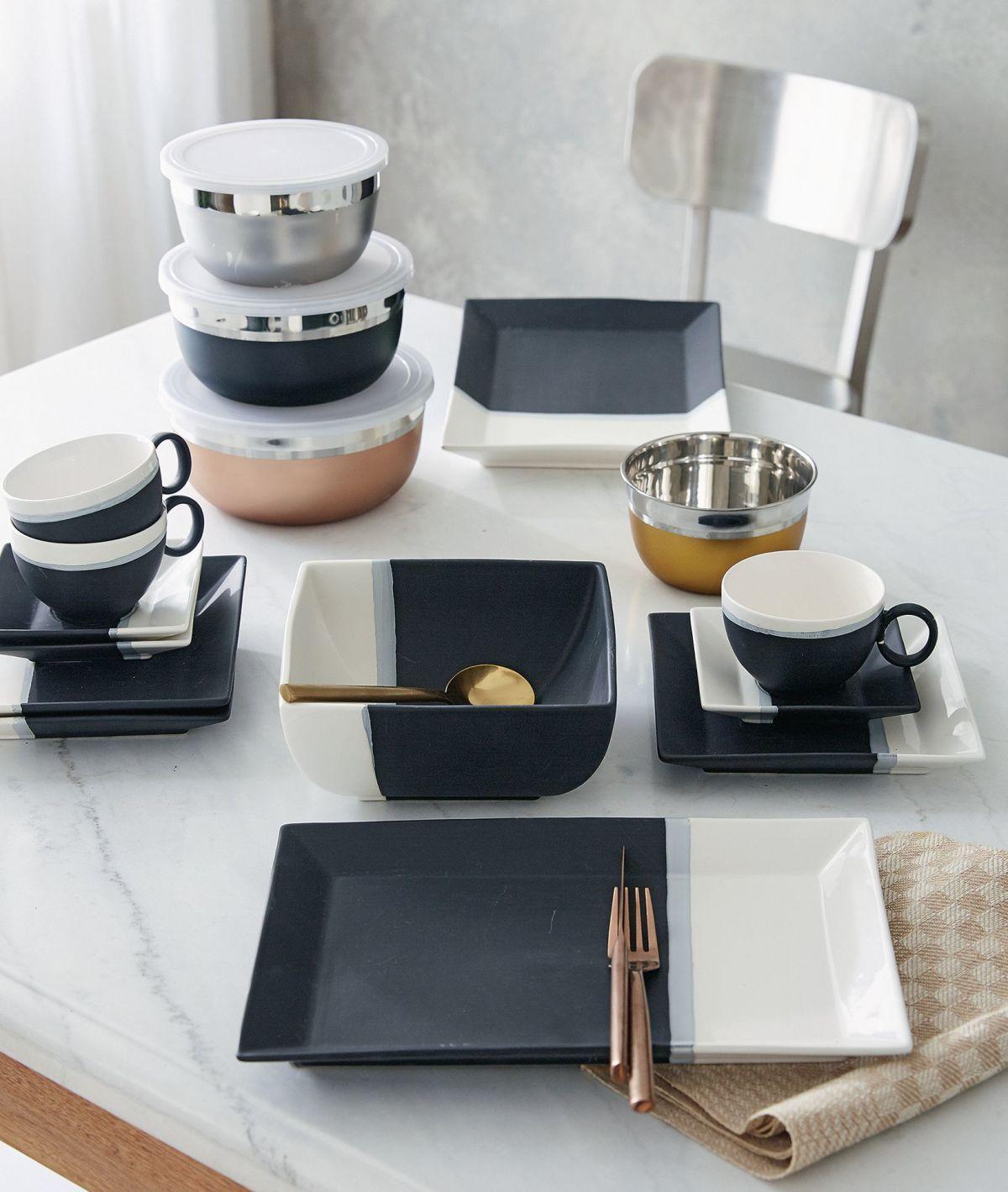 Modernes Geschirr Set am liebsten schwarz tisch service tischleindeckdich schwarzweiß