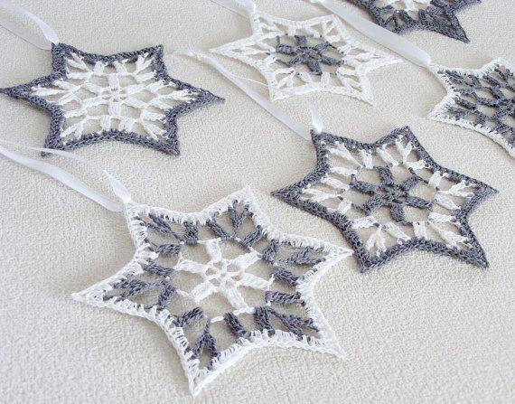 Christmas stars, crochet snowflakes, star of David, set of 6, Christmas tree ornament, home decoration, wall hanging, Hanukkah, white, grey