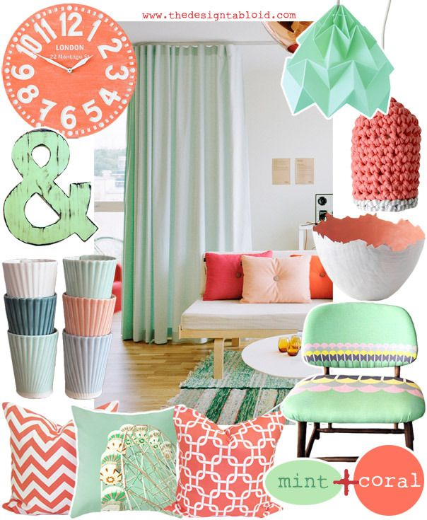 Coral mint new living room colors decor projects for Coral living room ideas