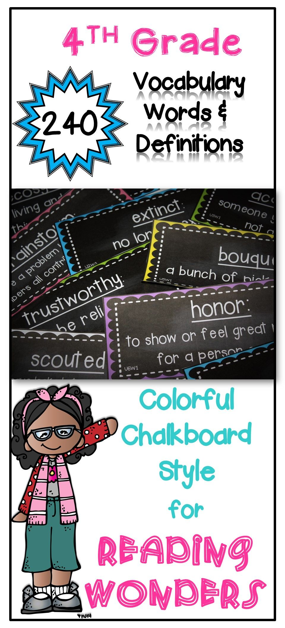 4th grade Reading Wonders vocabulary cards with definitions in a chalkboard and bright decor. Just print and they are ready for the school year.  I use them for my word wall and in vocabulary centers.