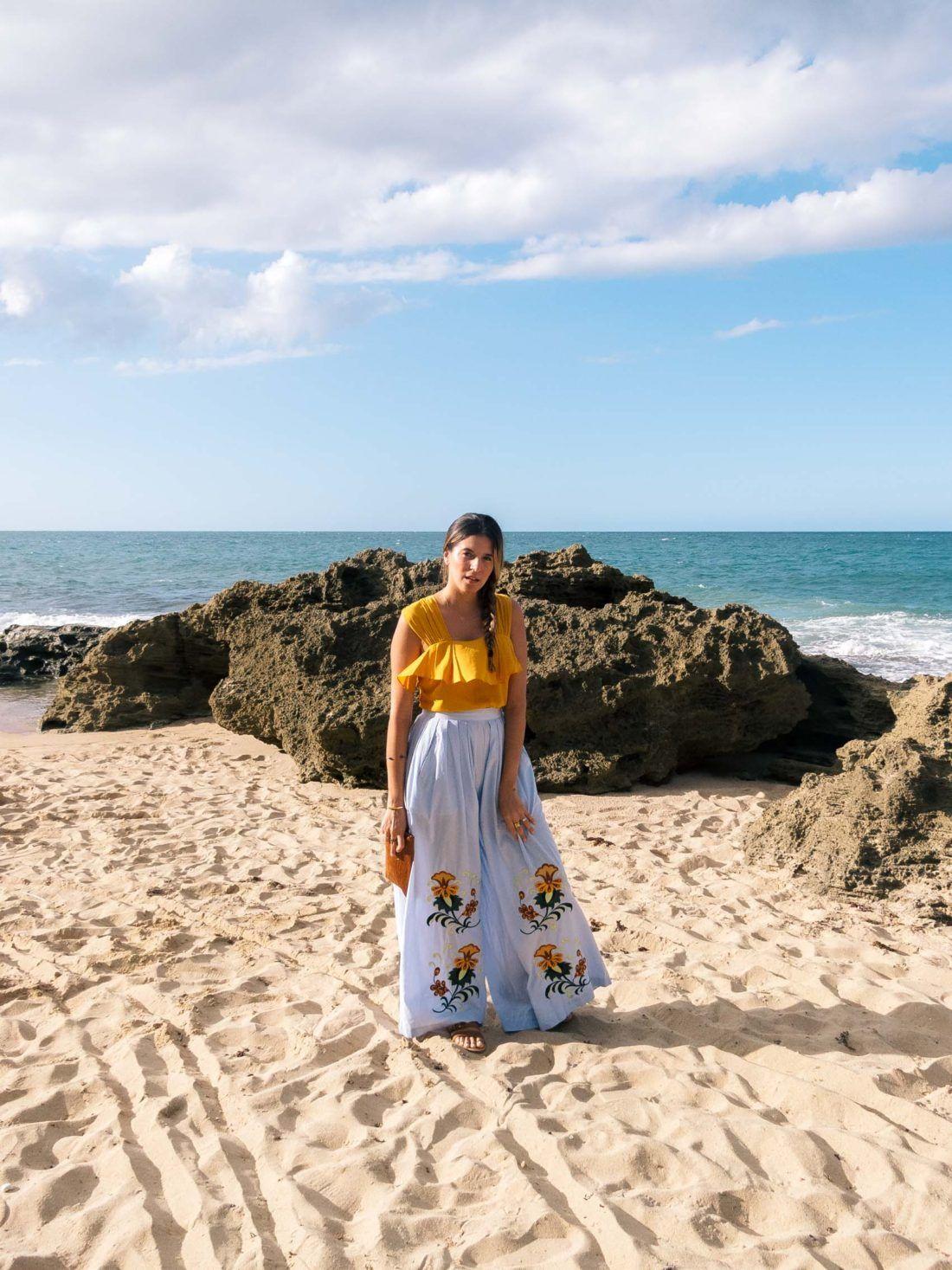 Maristella gonzalez wearing nightwalker flower embroidered for Puerto rico vacation ideas