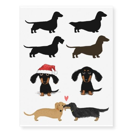 Dachshund Silhouettes And Cute Cartoon Dogs Temporary Tattoos