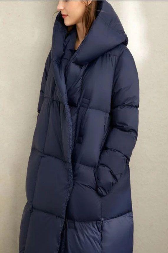 Navy Blue Cocoon Women Winter Loose Plus size Side
