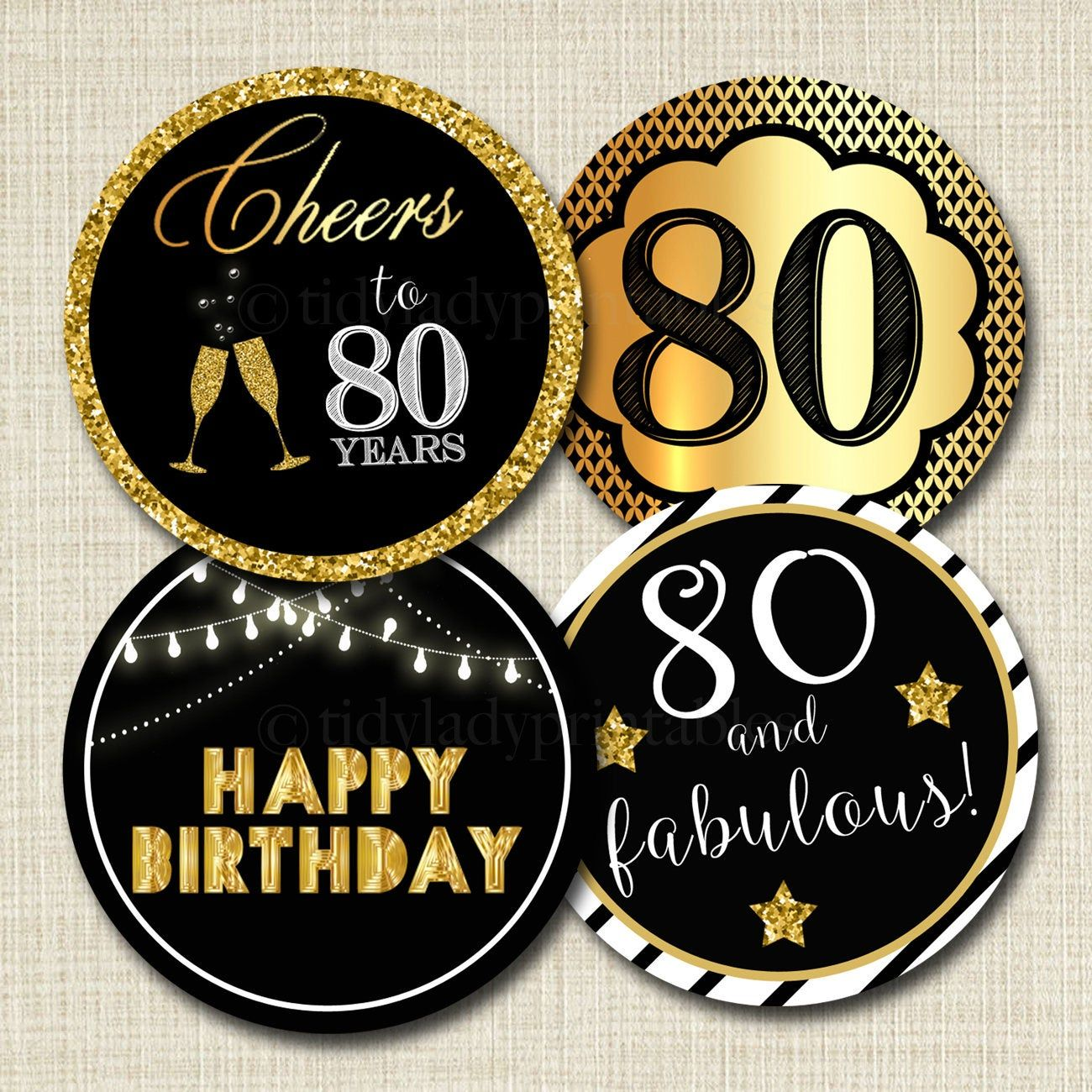 80th birthday cupcake toppers printable cheers to eighty