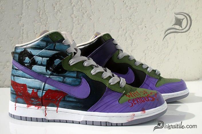 on sale b5dd3 9c0ab Officially Cool   Dark Knight  Joker-Themed Nike Sneakers Dark Knight Joker  Sneakers1 – Film School Rejects