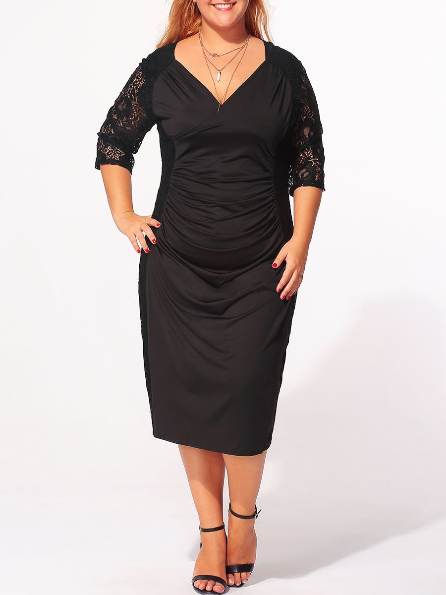 8c875764e Surplice Plain Lace Patchwork Plus-size-bodycon-dress Only  35.95 USD More  info.