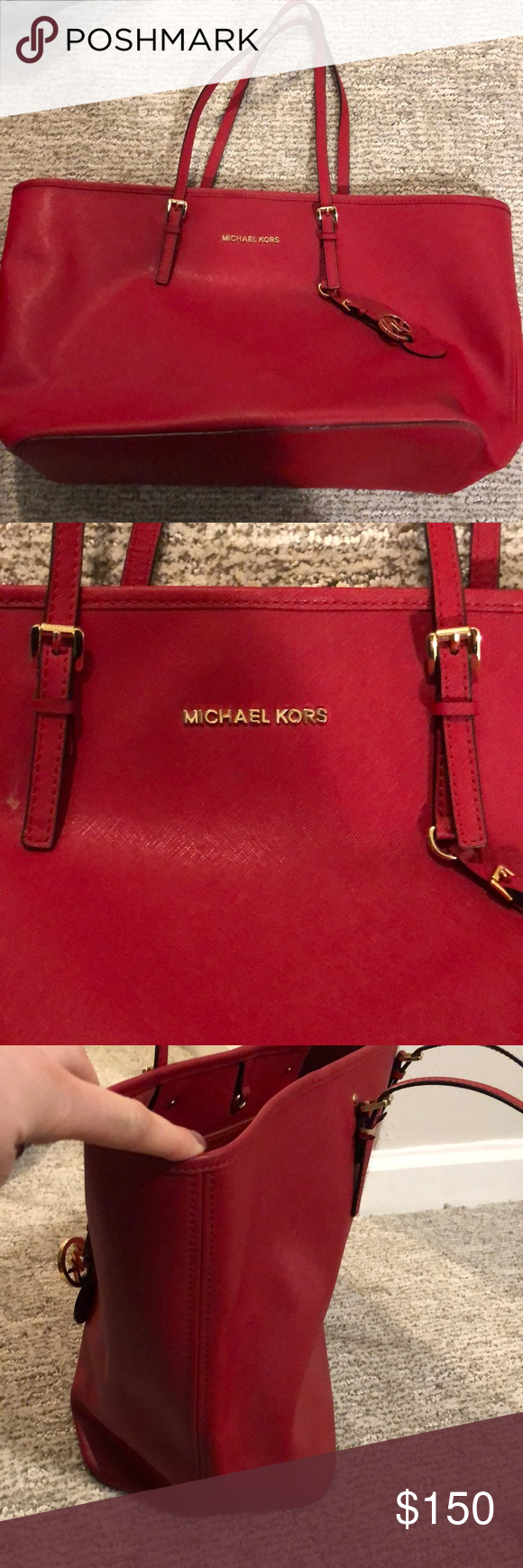 70844097684a57 Michael Kors red tote bag Beautiful deep red color. Large tote size.  Dimensions are