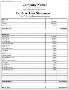 profit and loss document
