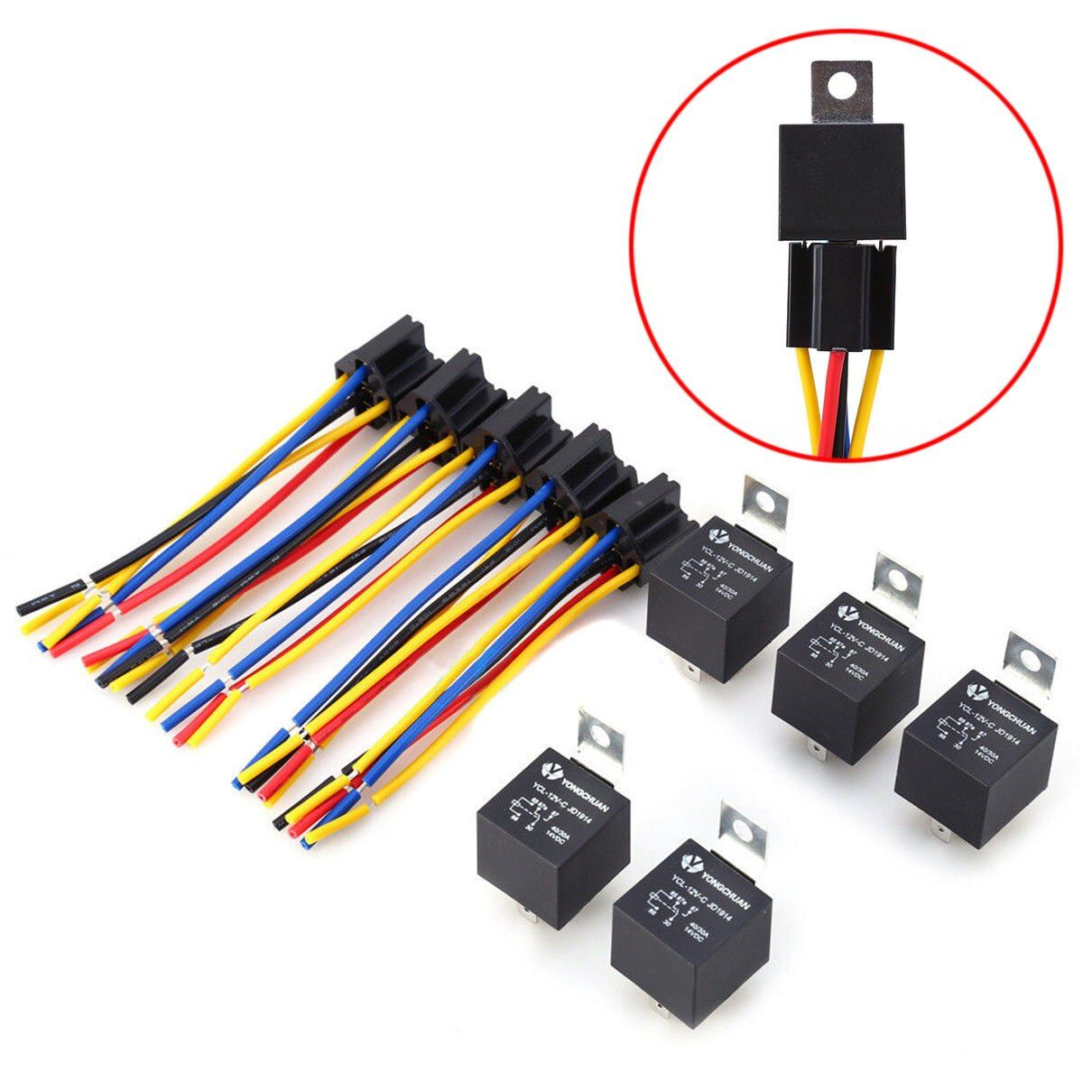 5 Pcs 5 Pin Cable Relay Socket Harness Connector DC w