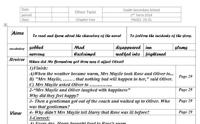 دفتر تحضير قصة Oliver Twist للصف الاول الثانوى ترم اول وثانى بملفات وورد ينفع لاى قصة انجليزى English Story Oliver Twist Words