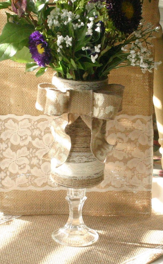 Burlap wedding table centerpiece Mothers day gift by Bannerbanquet, $25.00