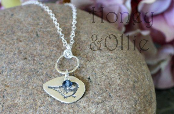 Fine silver and london blue topaz bird charm by honeyandollie, $40.00    http://www.etsy.com/listing/92669843/fine-silver-and-london-blue-topaz-bird