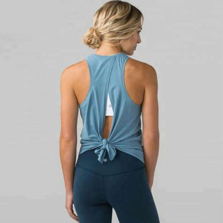 Cool Breeze Open Back Tied Workout Tank Top