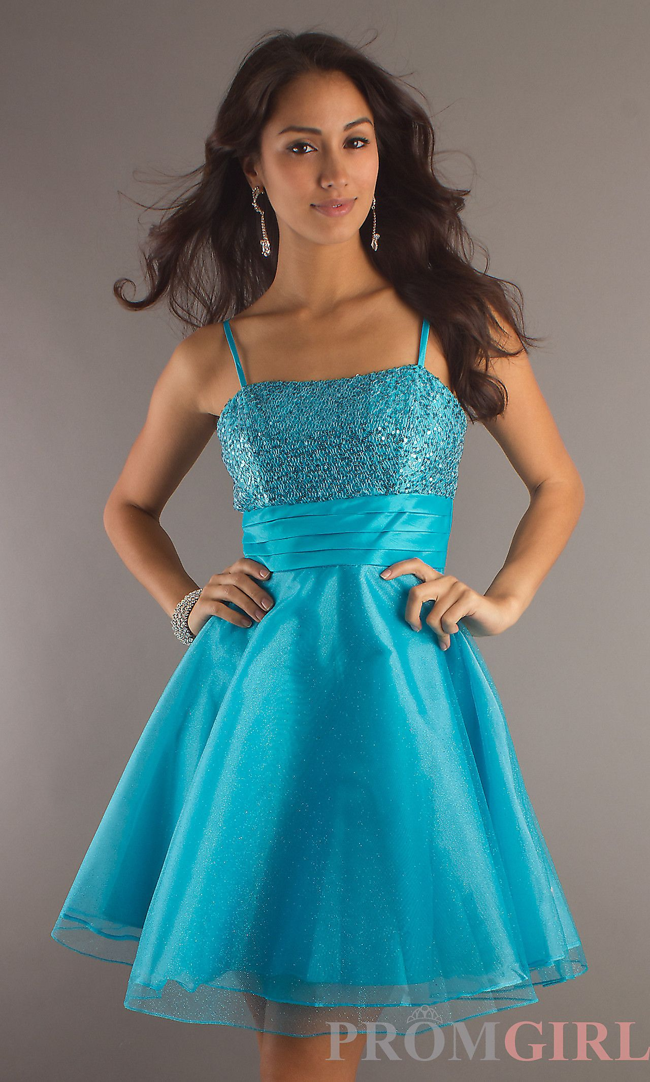 A-Line Sequin-Bodice Party Dress | Spaghetti strap dresses, Teen ...
