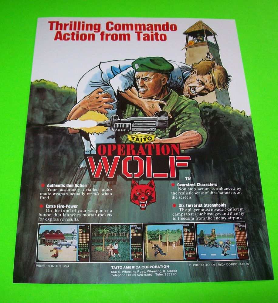 Operation Wolf By Taito 1987 Original Nos Video Arcade Game Promo Sales Flyer Gaming Merchandise Arcade Games Sale Flyer