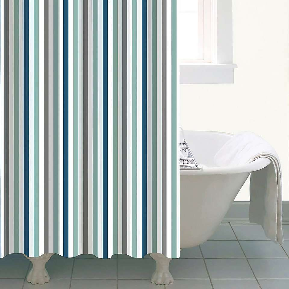Nautical Bold Stripe Shower Curtain Striped Shower Curtains Curtains Modern Bathroom Decor