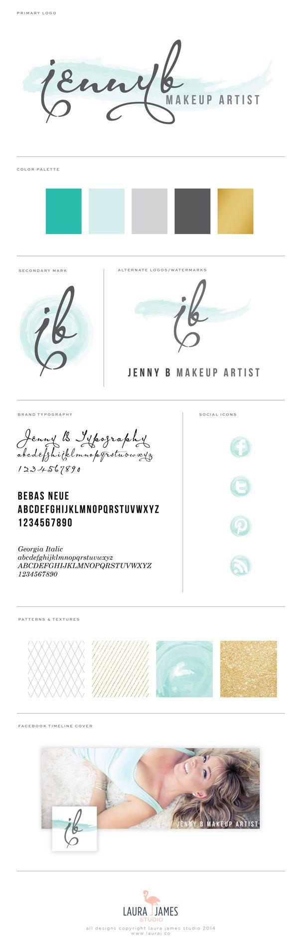 Watercolor Aqua Teal Gold Black Grey Logo Brand Identity Visual Guide Great Photography Idea Makeup Artist