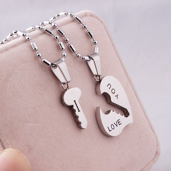 fbac4202df Fashion Stitching Design Key And Heart Lover's Titanium Necklace (Price For  A Pair) - USD $24.95 : EverMarker.com