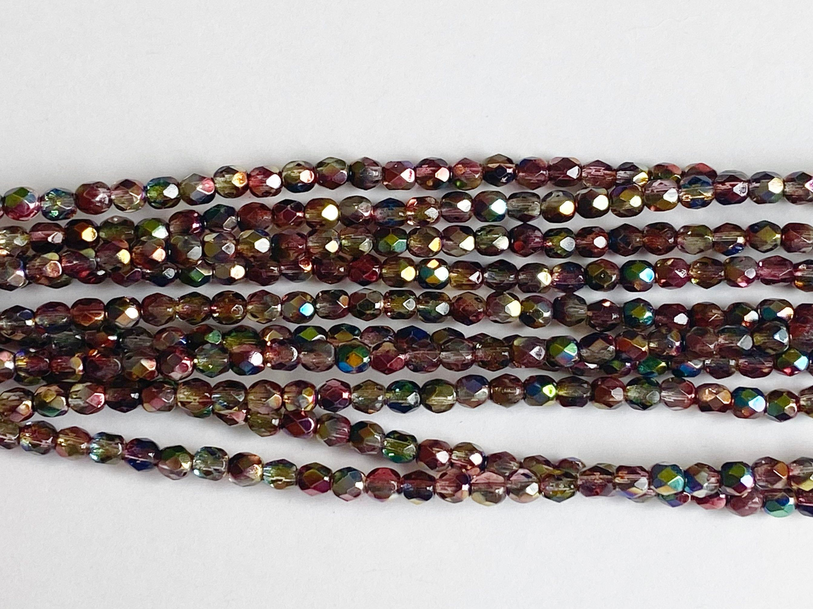 Faceted 4mm Fire Polish Beads 40 Beads Per Strand Magic Red Yellow 4mm Fire Polish Beads