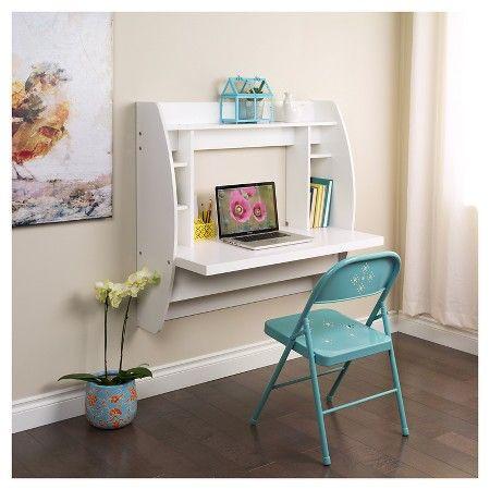 Floating Desk With Storage White Prepac