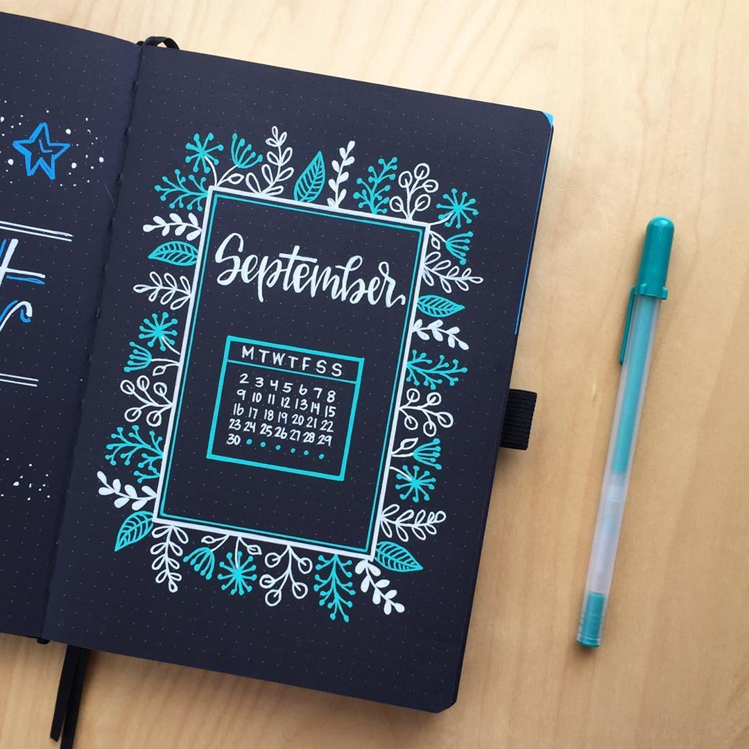 "Casually Created on Instagram: ""� Hello September! � . . Pen: @sakuraofamerica Green Moonlight Gelly Roll Journal: @archerandolive Blackout Book . #bujoinspire…"""